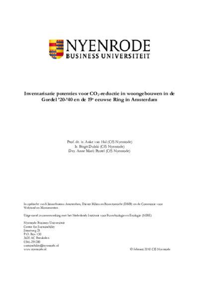 Inventarisatie potenties voor CO2-reductie in woongebouwen in de Gordel '20-'40 en de 19e eeuwse Ring in Amsterdam